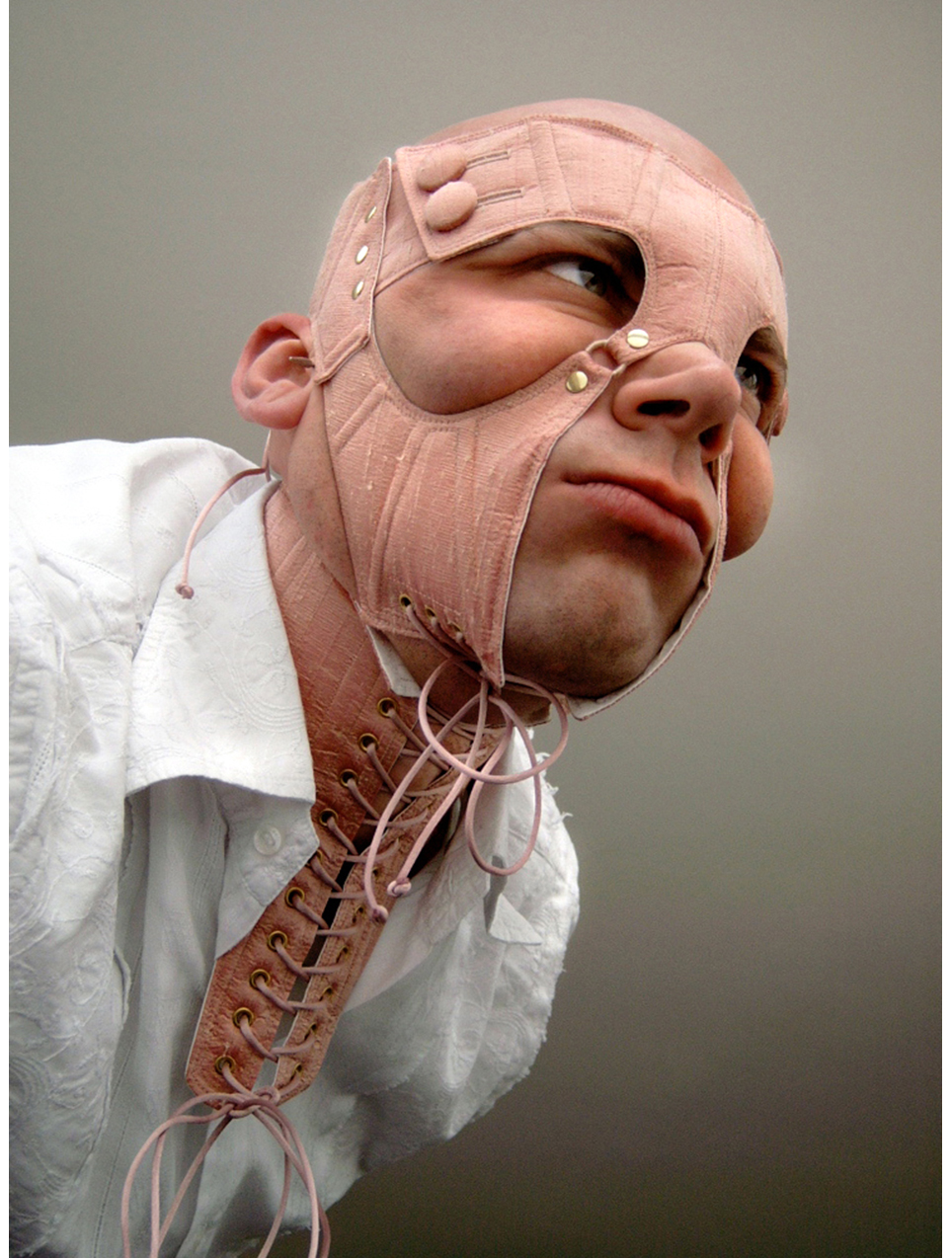 Face Corset. Salmon pink dupion silk. 2002