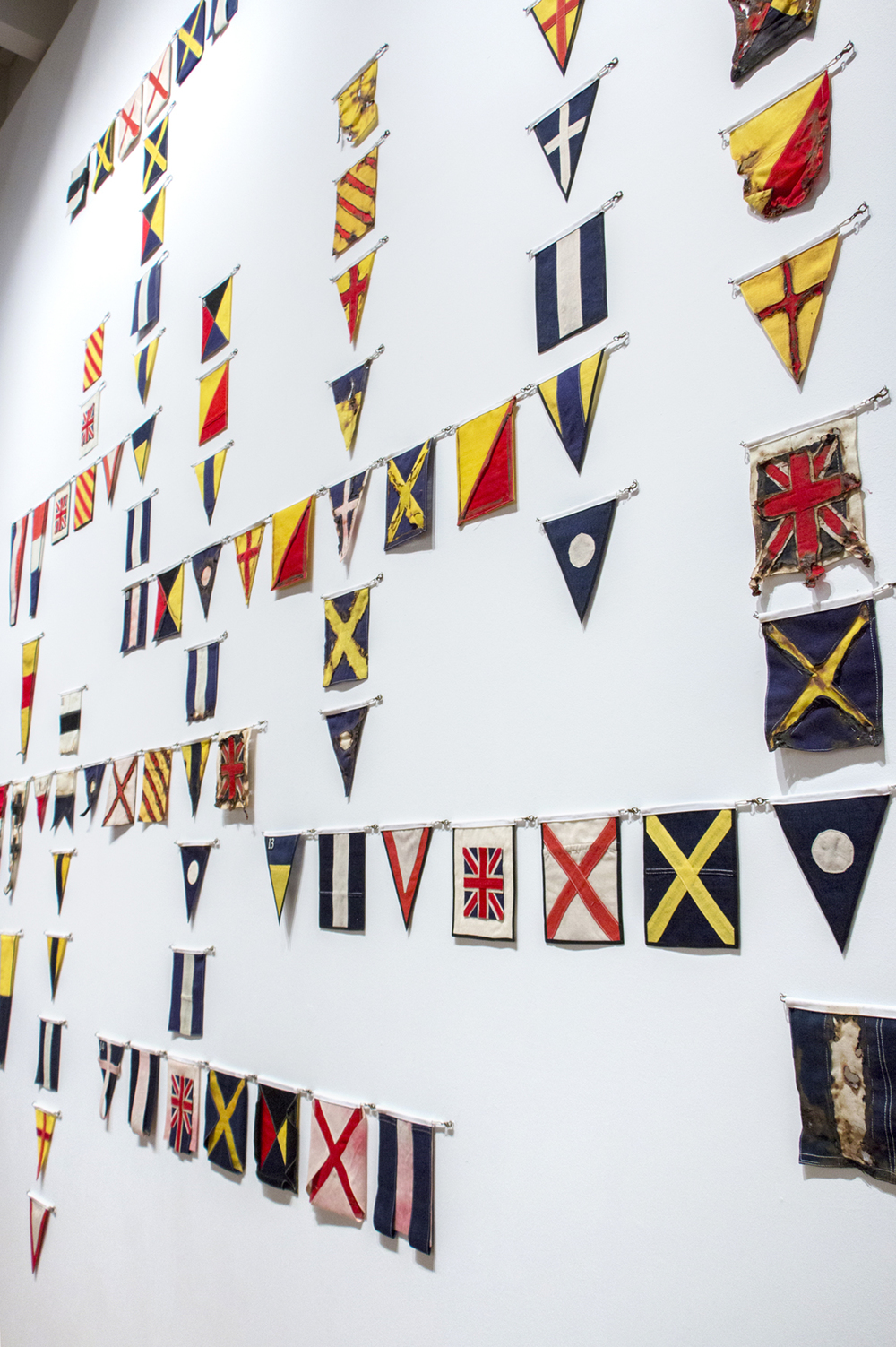 Yeo Crossword.  Vintage signalling flag fabric.  Royal Albert Memorial Museum Exeter. 2015