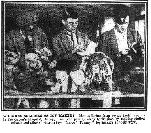 - Newspaper clipping featuring facial injury patients treated by Sir Harold Gillies at Aldershot and Sidcup. Rehabilitation and social activities to aid in their recovery included embroidery, basket weaving, animal husbandry and toymaking.