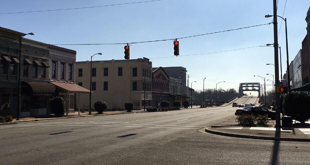 View of the Edmund Pettus bridge in Selma on Sunday morning