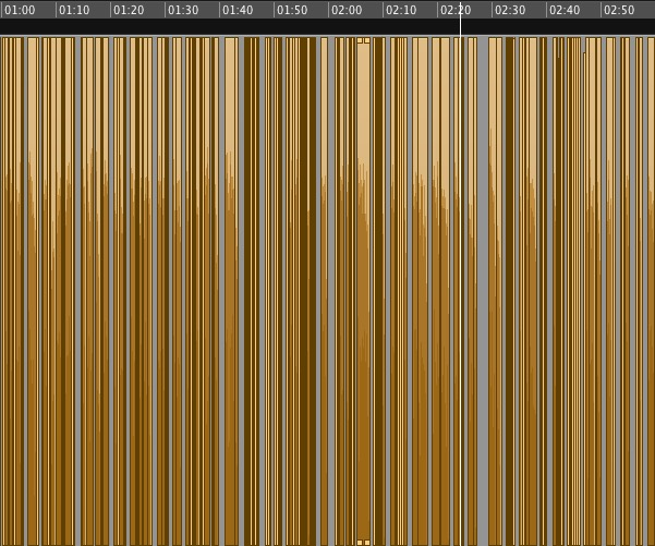 This is what two minutes of finished audio looks like. Every one of those lines is an edited section, some of which took hours when a word or phrase had to be re-recorded, matched, filtered. Any sound professionals looking at this will show it to their friends at a bar and they'll all have a good laugh at the idiot who produced this, but there we are.