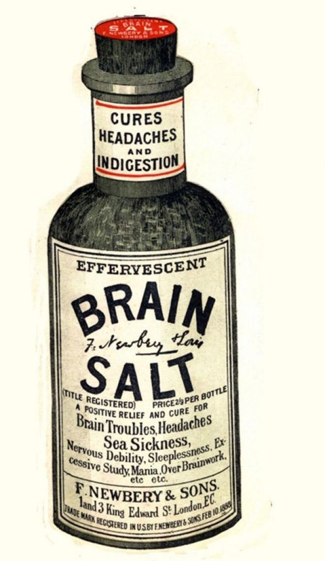 Framed Vintage Medicines Print _ Headache Brain Salts (Picture Drugs Anatomy).jpg