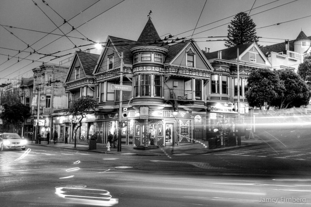 The corner of Haight St. and Masonic Ave. in San Francisco.