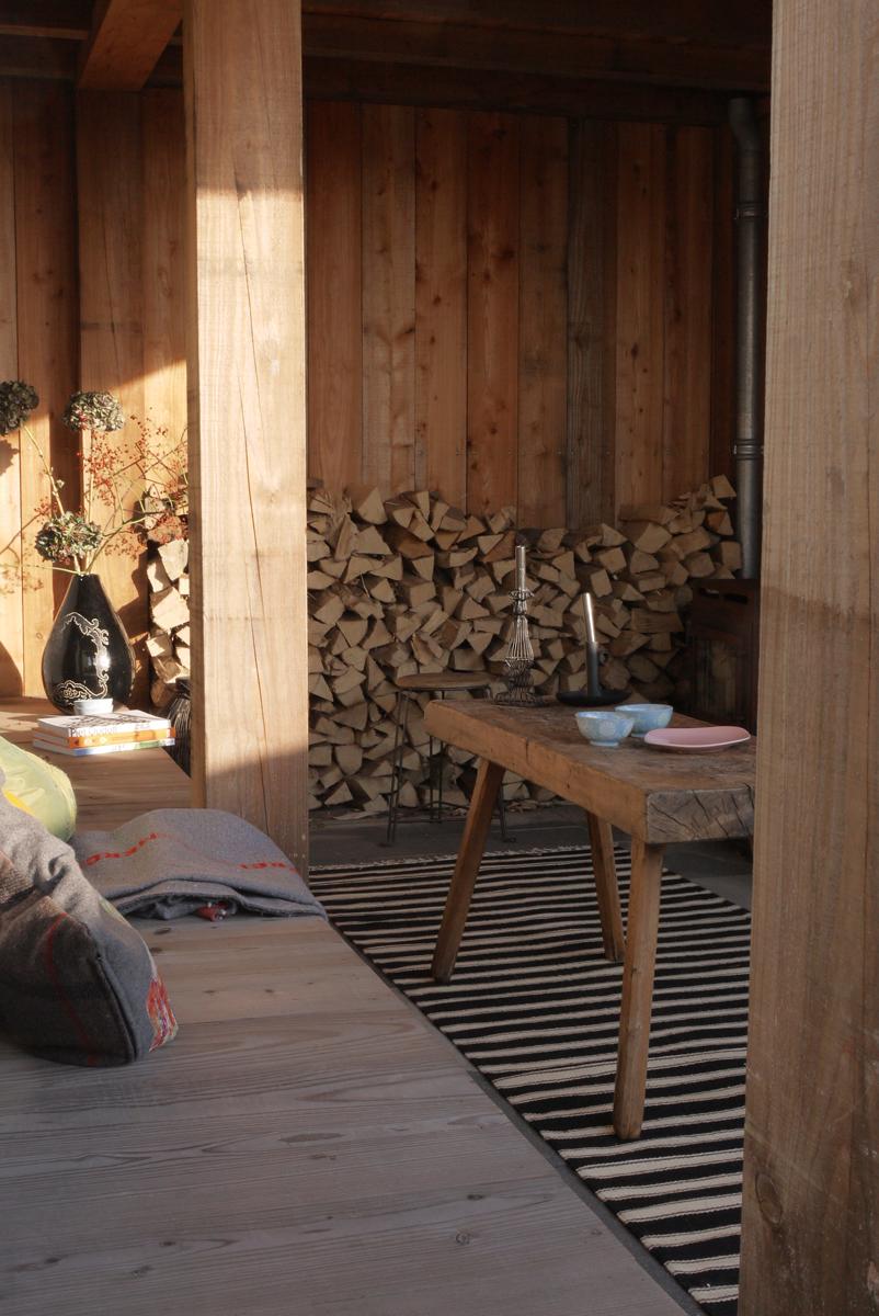 Moderne houten veranda