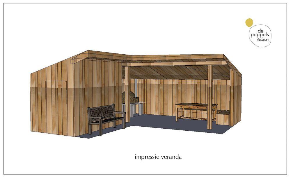 de peppels houten veranda in Bergen