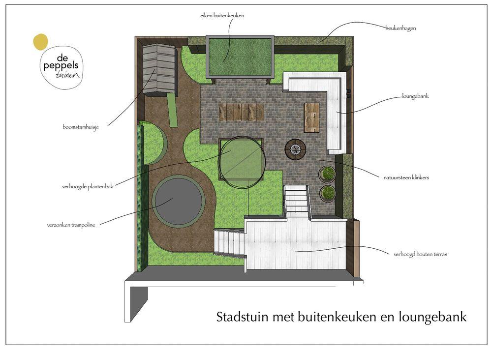 Tuinontwerp met buitenkeuken en loungebank in Amsterdam