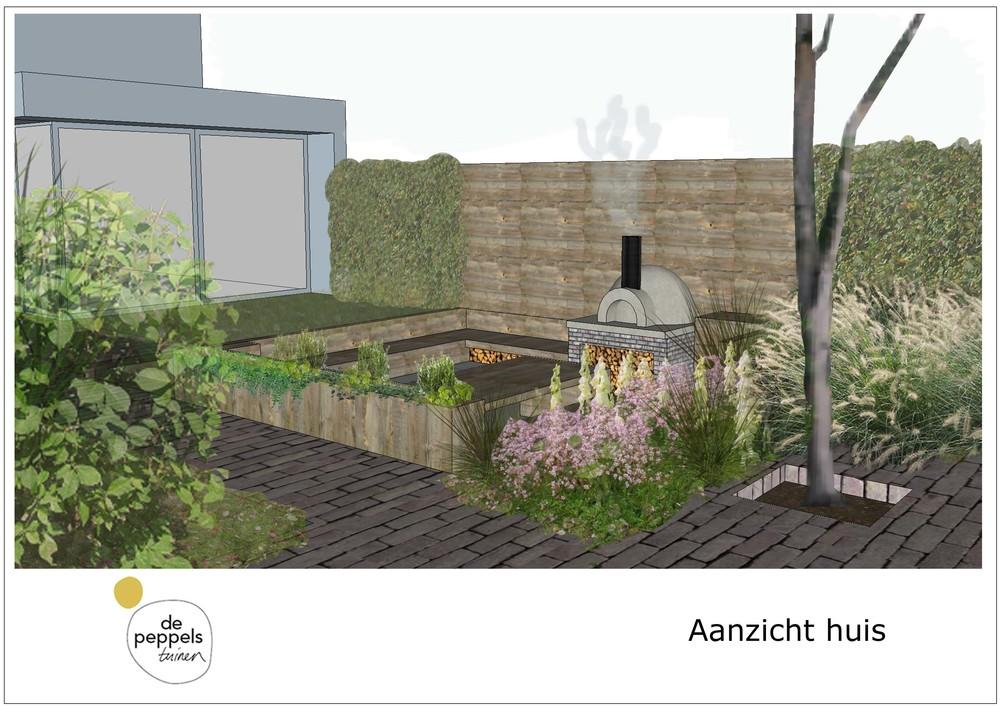 Moderne tuin met zitkuil tuinontwerp of tuinarchitect wij ontwerpen tuinen om in te leven - Te dekken moderne tuin ...