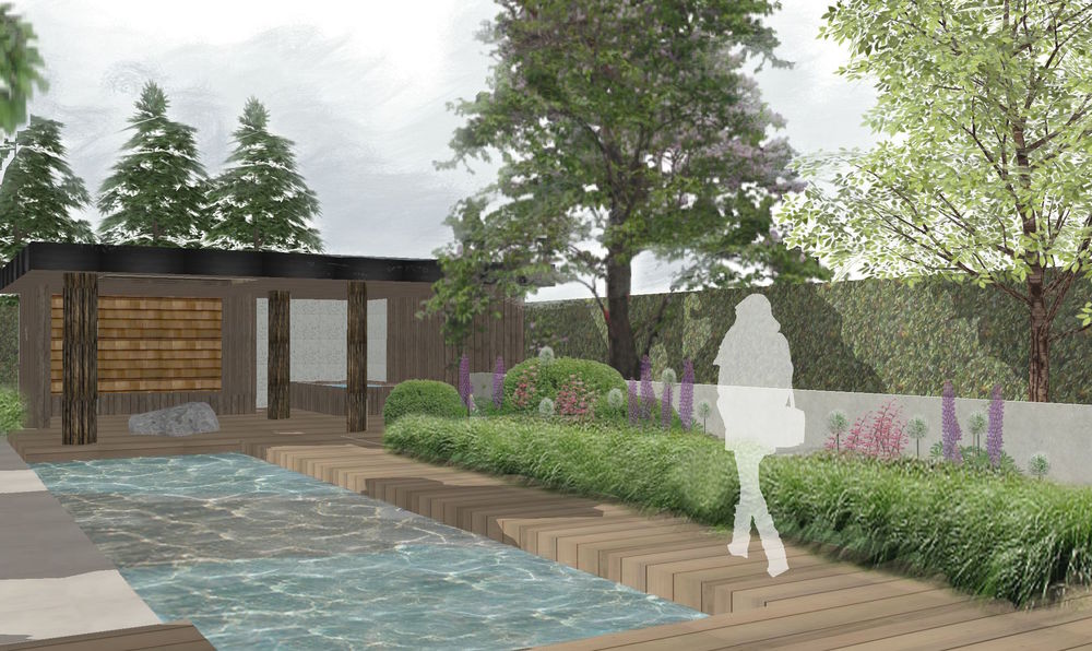 Houten tuinhuis annex pool house in Haarlem