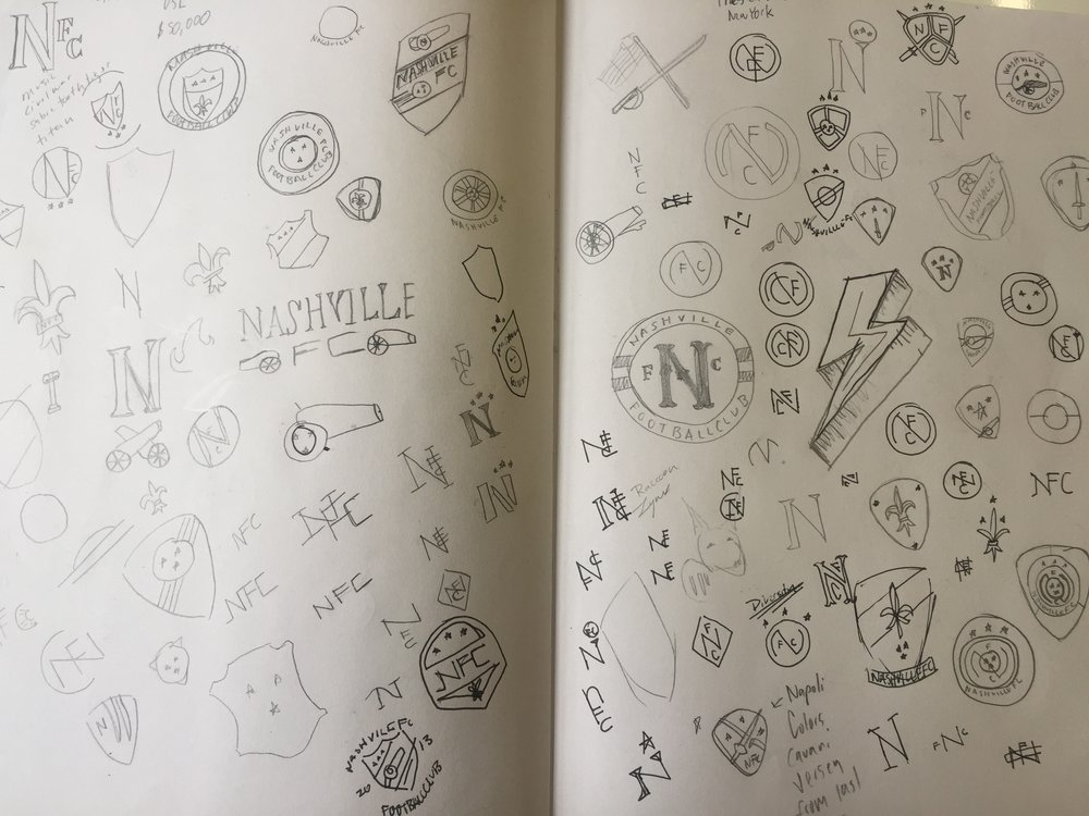 Initial Nashville F.C. Logo Sketches and Exploration. Circa 2012.