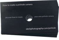 "The back of my ""pinhole"" business card"