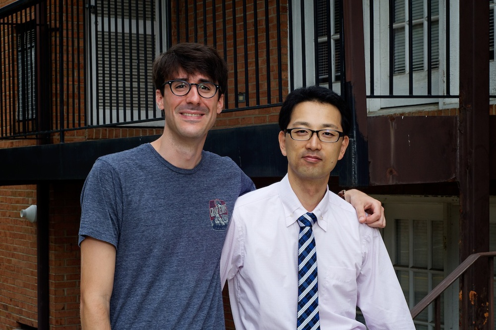 Steve and Akiyuki in front of their apartment where they were roommates at UMW
