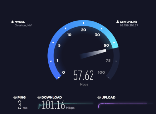 My Laptop (2016 MacBook Pro) Speedtest in Las Vegas Hotel.