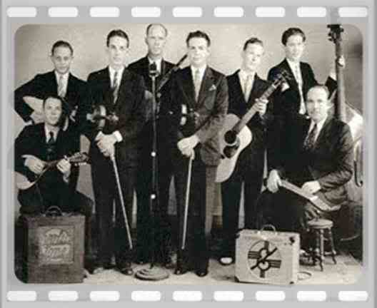 Leo Raley seated left with Cliff Bruner's band with the remarkable Bob Dunn on lap steel seated to the right
