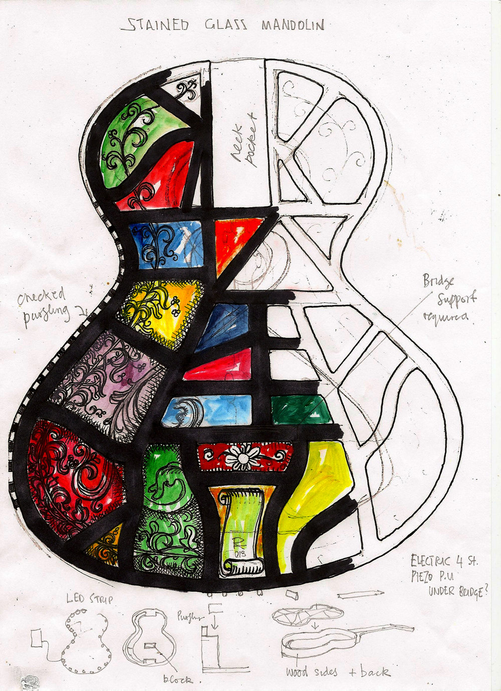 Working sketch for The Stained Glass Mandolin