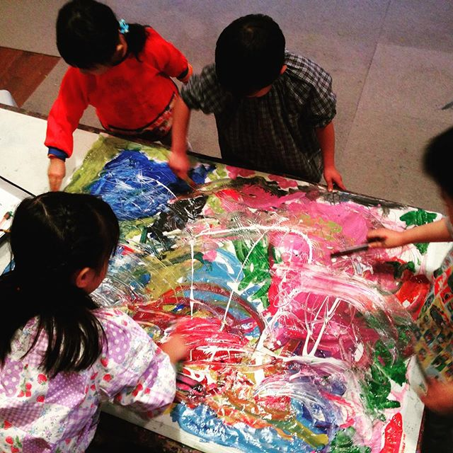 Paint what you hear!  Kids freely expressing sound and rhythm with colors and textures.