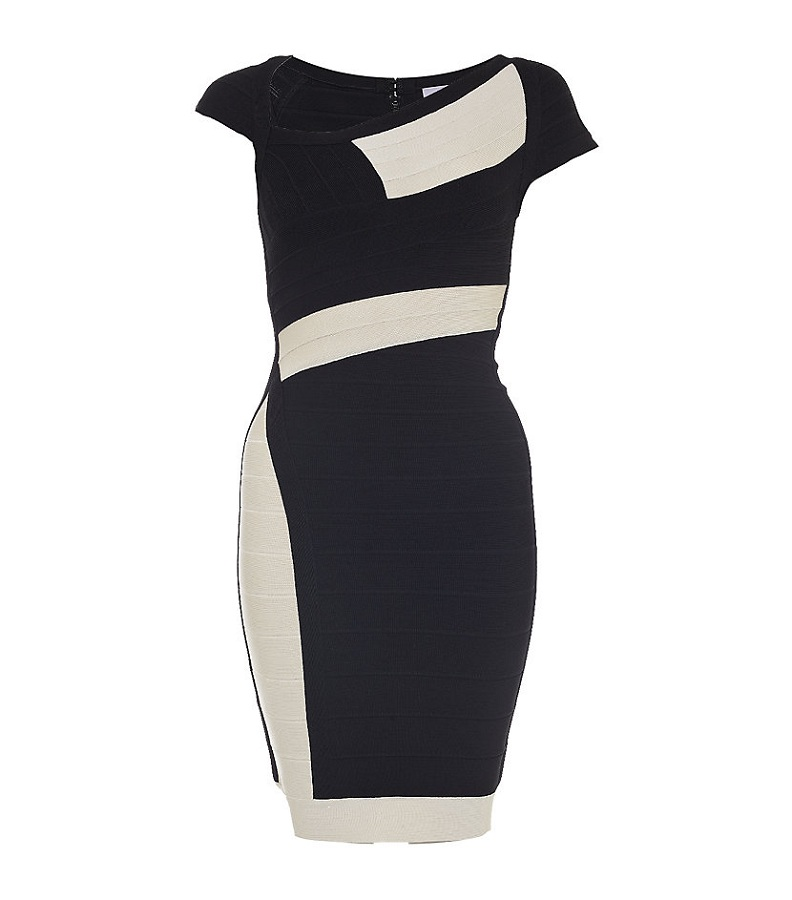 Black & white Amber bandage dress with an asymmetrical neckline /   HERVÉ LÉGER