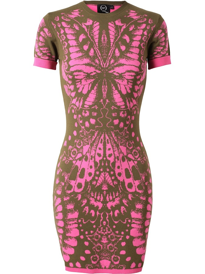 Khaki green stretch knit dress with pink butterfly intarsia /   ALEXANDER MCQUEEN