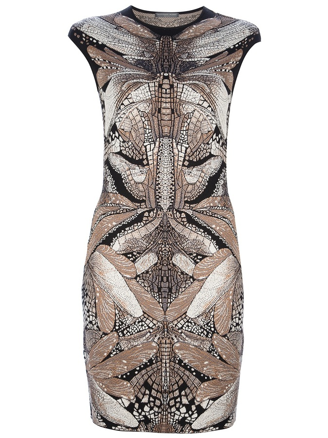 Dragonfly print wool silk blend bodycon dress /   ALEXANDER MCQUEEN