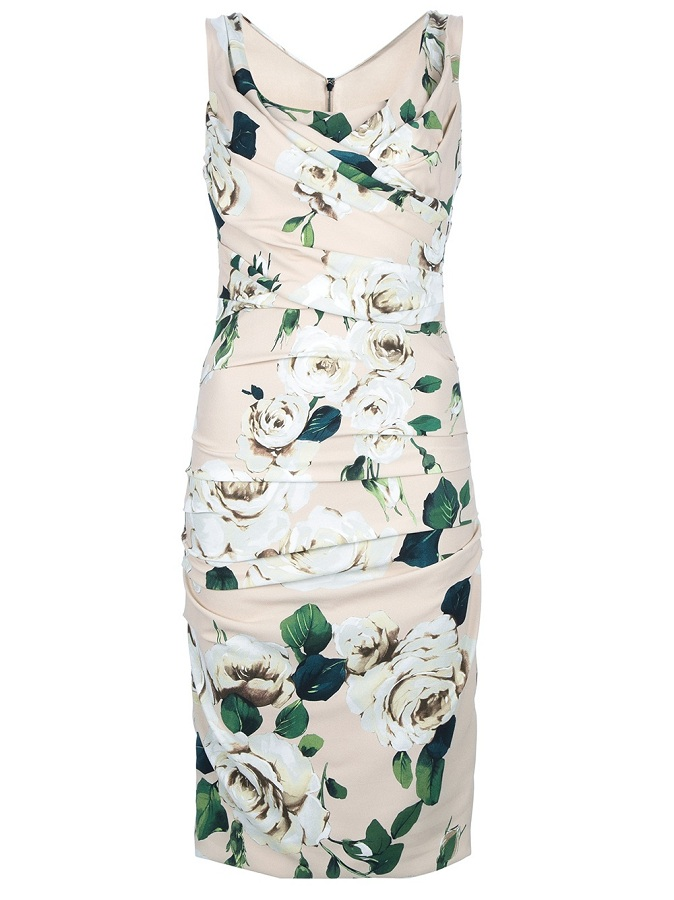 Sleeveless floral print silk blend dress /   DOLCE & GABBANA