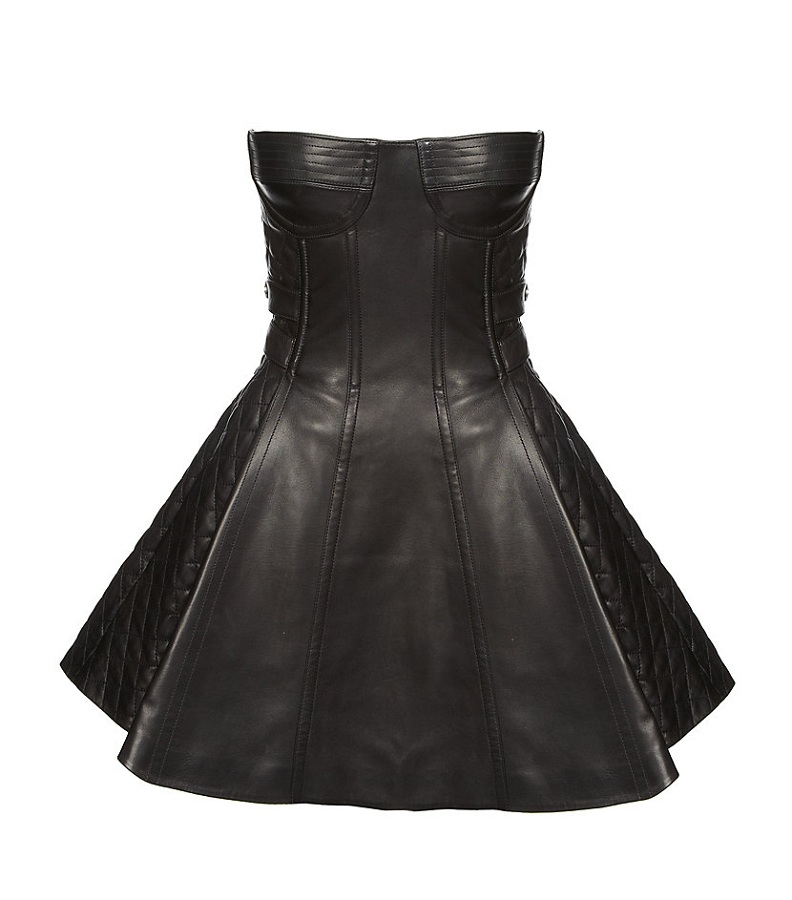 Leather bustier dress /   BALMAIN