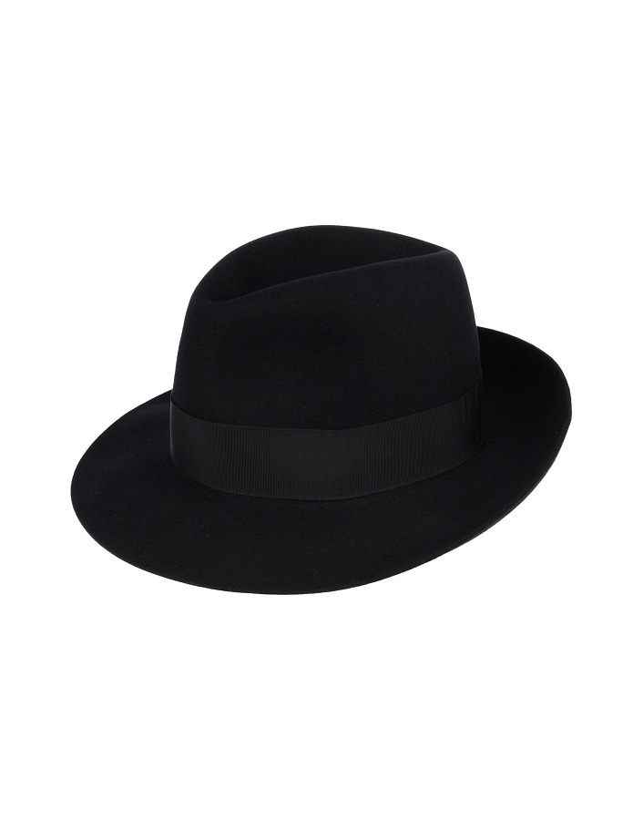 Dark blue felt hat /   BORSALINO