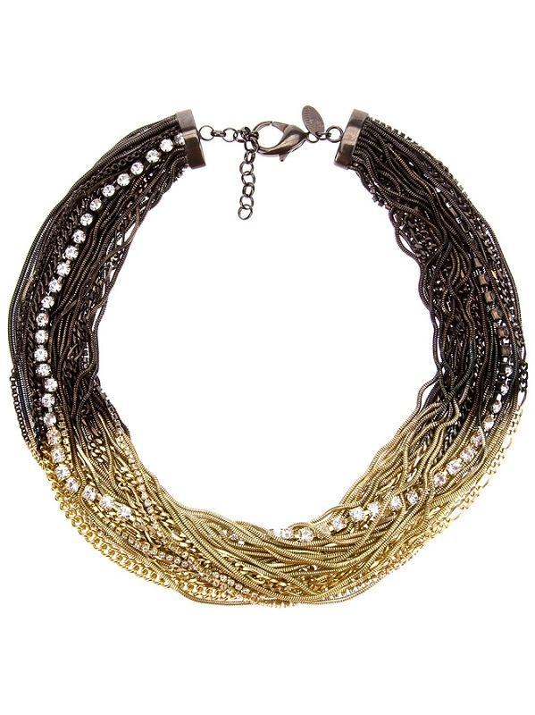 Gold and gunmetal tangled crystal necklace /   IOSSELLIANI