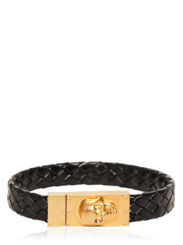 Woven leather skull bracelet /   ALEXANDER MCQUEEN