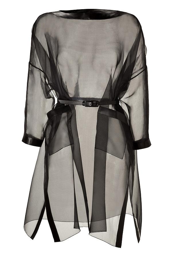 Black silk organza belted dress with leather trim /   VALENTINO