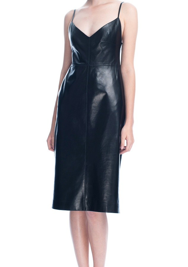 Leather camisole strap dress /   VALENTINO