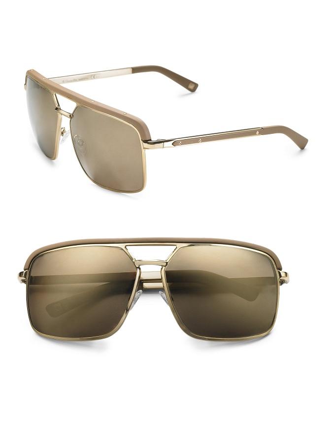 Leather trim aviator sunglasses /   DIOR
