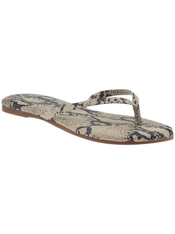 Beige snake print flip flops /   YOSI SAMRA