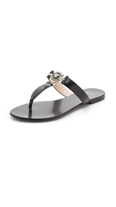 Patent leather embellished flip flops /   VERSACE