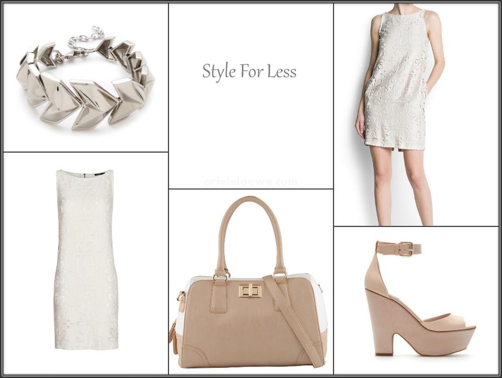 Style for less, floral motifs dress, cork wedge sandals, heart bracelet, cissone handbag
