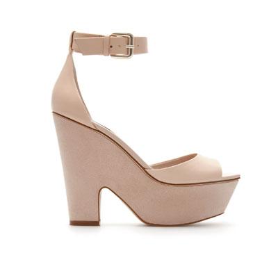 ZARA   cork wedge sandals with ankle strap