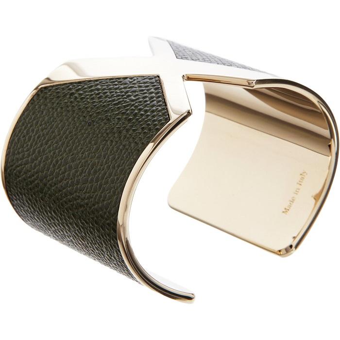 VALEXTRA   gold leather X cuff bracelet
