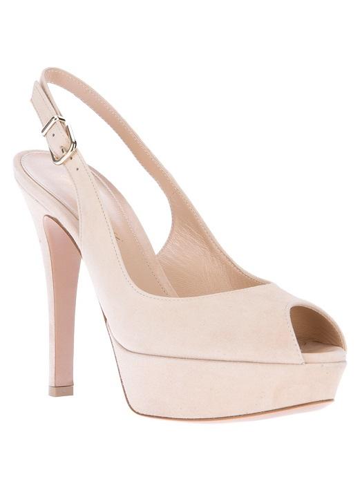 GIANVITO ROSSI   beige peep toe slingback sandal
