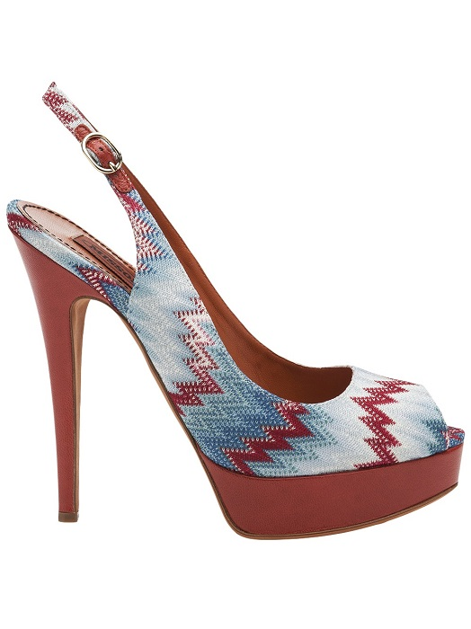 MISSONI   flame stitch peep toe slingbacks