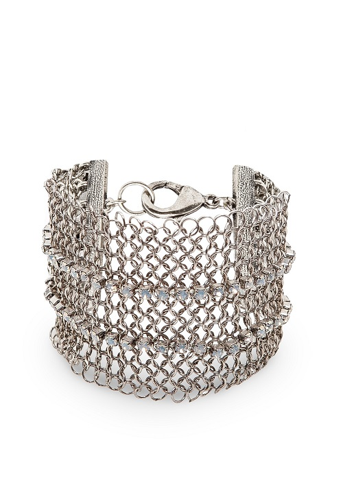 MANGO   silver touch crystals mesh bracelet