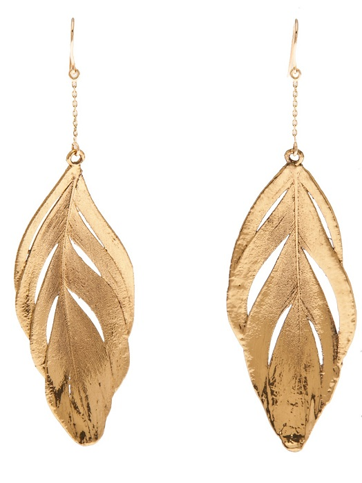 AURELIE BIDERMANN   gold swan feather drop earrings