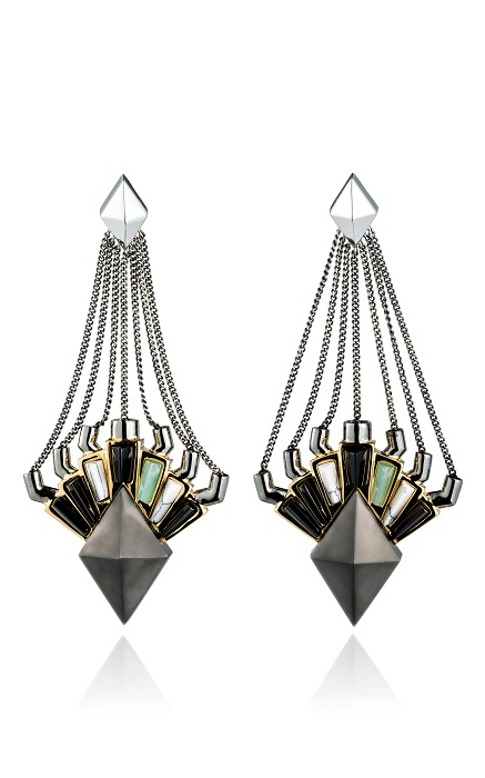 EDDIE BORGO   black horus drop earrings