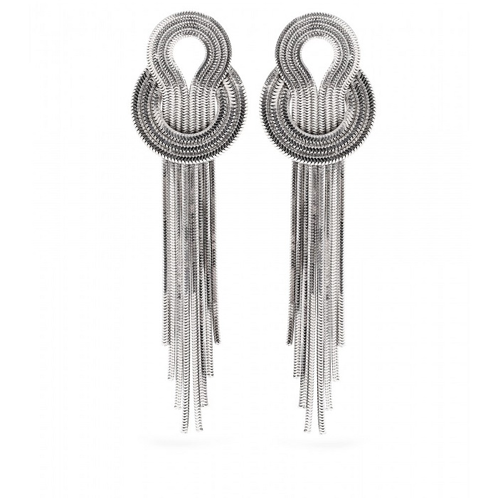 LARA BOHINC   silver saturn drop earrings