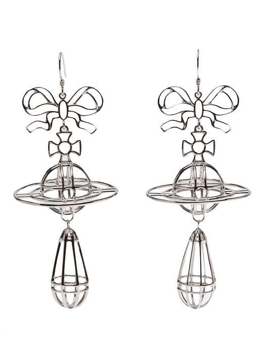 VIVIENNE WESTWOOD   silver 3D drop earrings