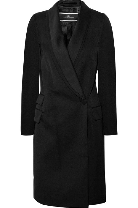 MALENE BIRGER   black wool blend Kalonia twill coat