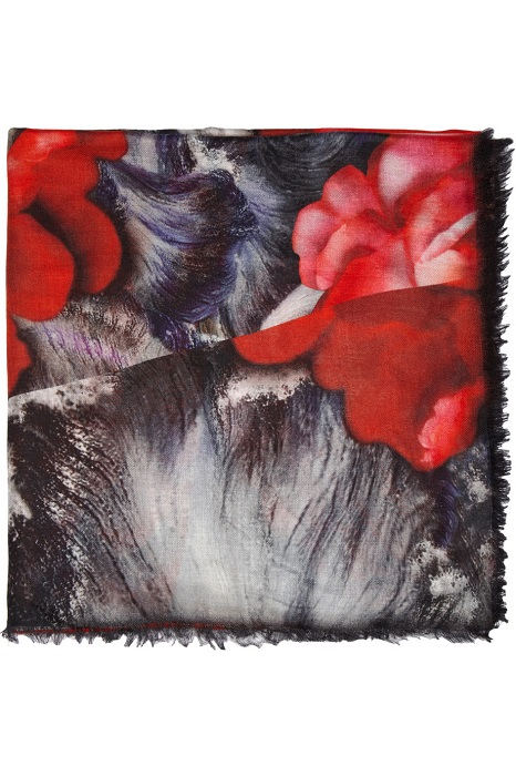 PETER PILOTTO   red printed modal and silk-blend scarf
