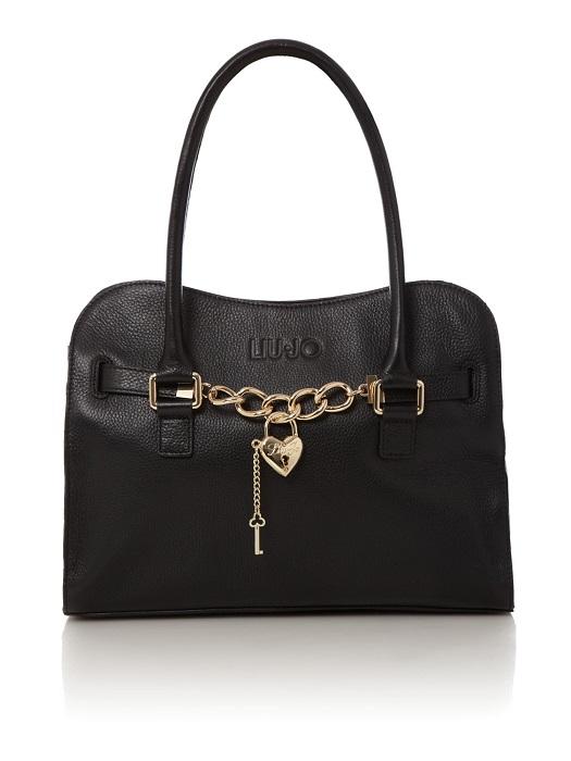 LIU JO   black Claudia heart lock small tote