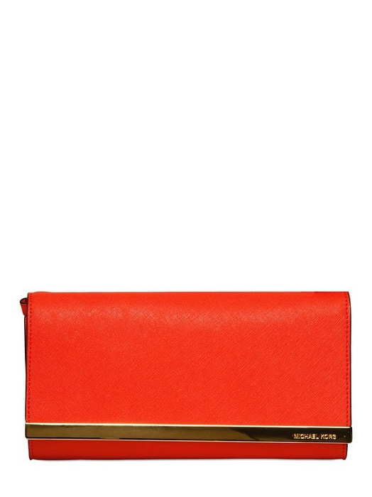 MICHAEL BY MICHAEL KORS   Tilda Saffiano leather clutch