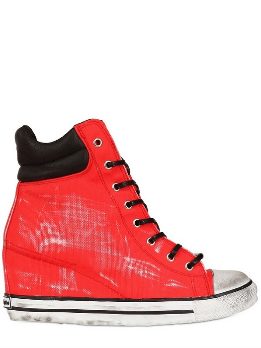 DIONISO   painted canvas high top wedge trainers