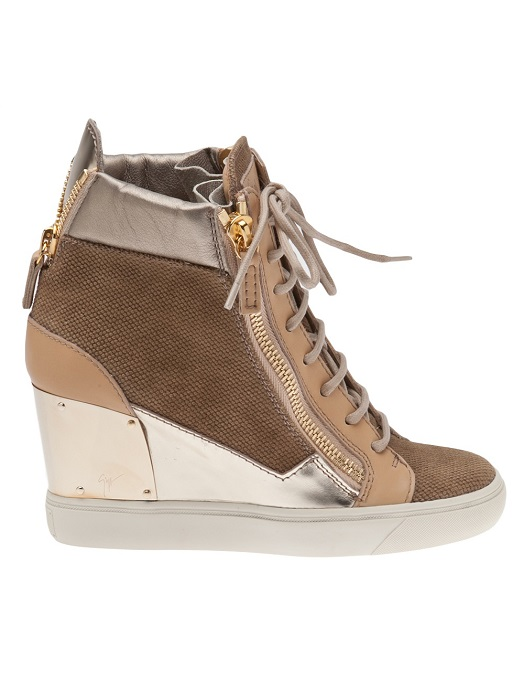 GIUSEPPE ZANOTTI   metal trim zipper high top wedge trainer