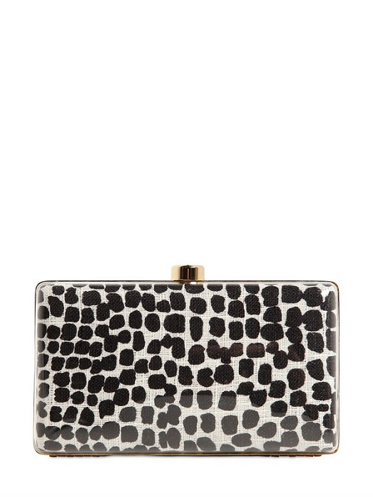 STELLA MCCARTNEY   plexi glass printed canvas clutch
