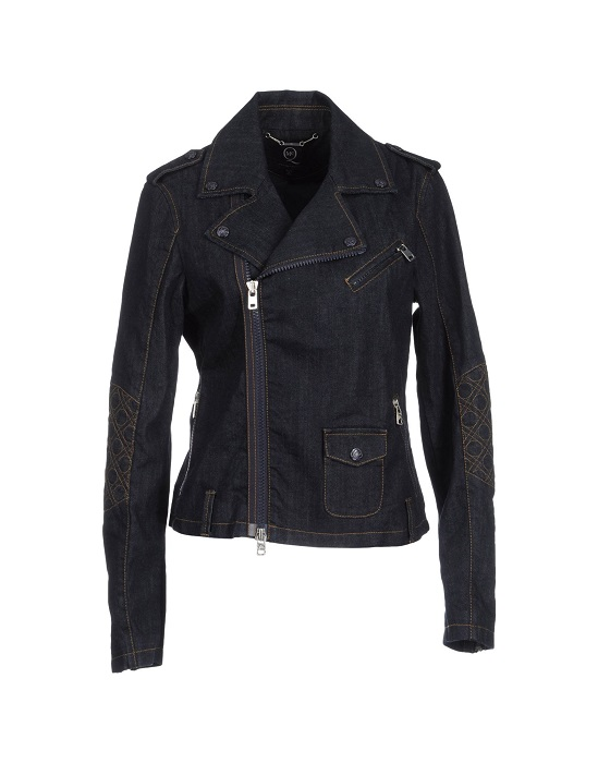 MCQ BY ALEXANDER MCQUEEN   denim dark wash biker jacket